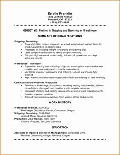 13 Warehouse Worker Resume Examples  Sample Resumes  Sample Resumes  Pinterest  Sample