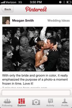 I should do this with my wedding photos.With only the bride and groom in color, it really emphasized the purpose of a photo--a moment frozen in time. It really seems like time is standing still in the photo. When I Get Married, I Got Married, Getting Married, Newly Married, Wedding Wishes, Wedding Pics, Wedding Bells, Wedding Ideas, Wedding Inspiration