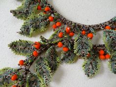 Roan Bough, Bead Woven Assymmetrical Double Branch with Spring Leaves and Red Orange Berries, Wearable Nature and Art Necklace