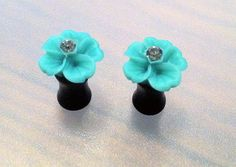2G Teal Flower Plugs with Swarovski Crystals  by PerfectionPetals, $16.00