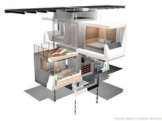 zeroHouse is a great prefab house concept designed by Specht Architecture which can be easily shipped and quickly assembled and with all conveniences for 4 inhabitants Prefabricated Houses, Prefab Homes, Modular Homes, Tiny Homes, Green House Design, Container Architecture, Container Buildings, Architecture Drawings, Residential Architecture