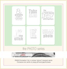 FREE printable Photo themed quote cards (for Project Life) Project Life Freebies, Project Life Cards, Life Journal, Journal Cards, Bullet Journal, Printable Cards, Free Printables, Mini Albums, Digital Project Life