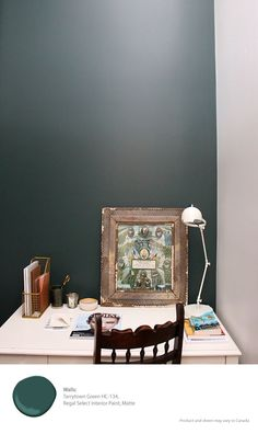 Nothing like a rich, deep green to ground your space and inspire some new projects | Benjamin Moore Regal Select paint in Tarrytown Green, Matte finish [ad]