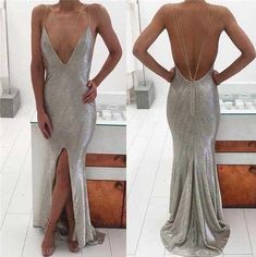Silver Spaghetti Chic Front Slit Mermaid Prom Dresses, Popular Evening Dresses,HS145 #fashion#promdress#eveningdress#promgowns#cocktaildress