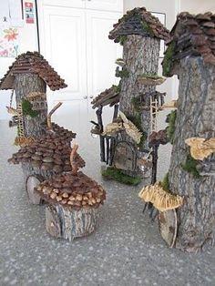 tree stump fairy houses | Lovely fairy houses! by claudette | Tree Stump Ideas