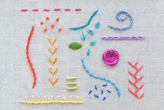 Ribbon Embroidery For Beginners 15 Hand Embroidery Stitches - Learning hand embroidery is fun and easy with these 15 essential stitch tutorials for beginners and experienced stitchers! Basic Hand Embroidery Stitches, Learn Embroidery, Silk Ribbon Embroidery, Crewel Embroidery, Hand Embroidery Patterns, Embroidery Techniques, Cross Stitch Embroidery, Embroidery Thread, Simple Embroidery
