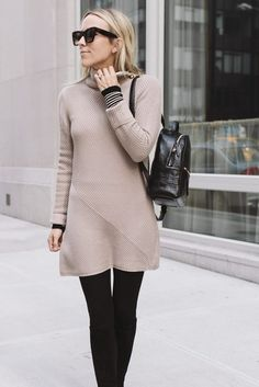 Dress: tumblr nude mini turtleneck turtleneck sweater knitwear knitted tights opaque tights boots