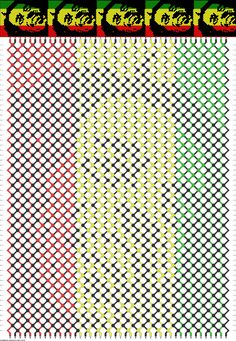 Bob Marley - Rasta Friendship Bracelet Pattern - Difficult