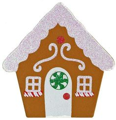 Finished Wooden Glittery Gingerbread House Cutout