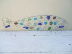 today i made a large seaglass / wire fish
