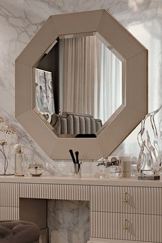 The Art Deco Inspired Designer Italian Octagonal Mirror, Classic Art Deco tones meet timeless glamour. To suit both a classic or contemporary interior, Art Deco Bedroom, Bedroom Bed Design, Modern Bedroom, Bedroom Decor, Art Deco Furniture, Luxury Furniture, Spiegel Design, Designer Spiegel, Dressing Table Design
