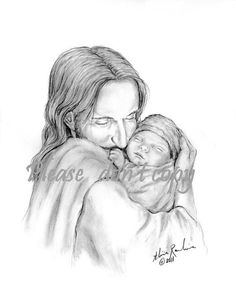Glimpse of Heaven Jesus Christ Holding a baby ~ChristianFineArt