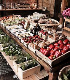 market, market stall display, cafe display, p Market Stall Display, Farmers Market Display, Cafe Display, Market Displays, Market Stalls, Produce Market, Display Ideas, Catering Display, Catering Food
