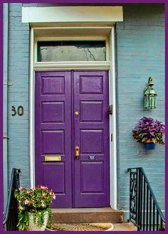 67 Super Ideas For Kitchen Colors Purple Front Doors Purple Front Doors, Purple Door, Painted Front Doors, Front Door Colors, Red Purple, Bright Purple, Exterior House Colors, Exterior Paint, Exterior Design