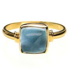 Evangelatos Square Aquamarine Ring,18k Gold and an Aquamarine. Athena's Treasures: http://www.athenas-treasures.com/