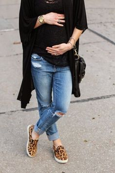 black + denim + a hint of leopard