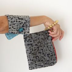 Gray wristlet bag unque evening bag cotton velvet by vquadroitaly