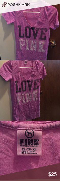 PINK Victoria's Secret V-Neck T-Shirt Brand: PINK Victoria's Secret  Size: XS Color: Purple Style: Short-Sleeve V-Neck T-Shirt PINK Victoria's Secret Tops Tees - Short Sleeve