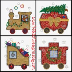 Christmas Train machine embroidery applique design set, by V-Stitch.  This set is one of our favorites.  Very festive with lots of details.  Compatible with the AccuQuilt Go! Train die (55367).  Have a great stitch!