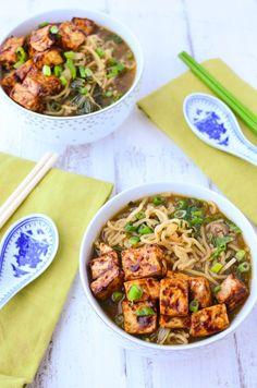 Vegan Ramen Soup! Flavorful miso broth with hoisin tofu and fresh ramen noodles. | www.delishknowledge.com