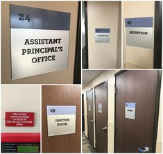 We made these custom interior signs for a high school campus in West Hills, CA. The room identification signs are made from clear acrylic that is painted second surface so you can see the paint color from the back while getting the texture of the acrylic. West Hills, Assistant Principal, Simi Valley, School Signs, Free Quotes, Clear Acrylic, Signage, Paint Colors, High School