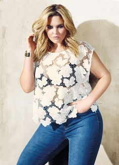 Love & Legend white floral crochet top and high waist skinny jeans from Addition Elle spring 2016 plus size fashion