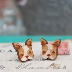 Wooden French Bulldog Earrings £7.50