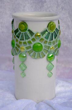 Florero verde cristal y Resumen de mosaico de cerámica | Etsy