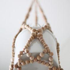 Beaded Hanging Planter / Modern Plant Hanger / Natural Wood Beads / Minimalist Home Decor