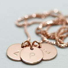 Choose a bridesmaid gift they'll cherish forever. A personalized rose gold pendant with each gal's initials should fit the bill. #etsyweddings