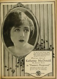 Ad for the 1920 silent film  Passion's Playground. This film is lost.