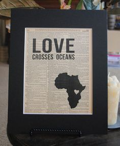 Love Crosses Oceans Uganda Vintage Adoption Word Art $15.00 - Any country available!