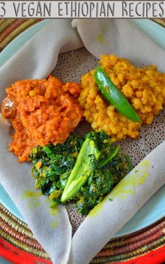 3 Vegan Ethiopian Recipes - African Dishes - Misir Wot - Vegan Spicy Lentils - Ater Kik - Vegan Yellow Split Pea - Gomen Wot - Vegan Spinach - Rich Bitch Cooking Blog