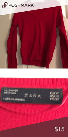 Pink sweater amazing condition Maybe worn once if that pink Zara sweater amazing condition (sorry for the wrinkles) Zara Sweaters V-Necks