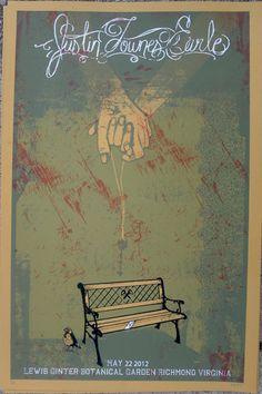 Custom Screenprint Gigposter Justin Townes Earle Show Poster. $15.00, via Etsy.