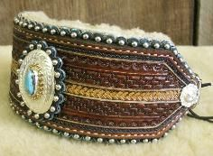 Custom Leather Belts and Collars Denice Langley w engraved silver