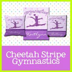 Cheetah Stripe Gymnastics - Personalized gifts for Gymnasts.  #gymnastics