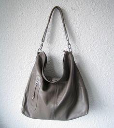 Leather hobo Max medium grey---Adeleshop handmade Leather bag Messenger Diaper bag Shoulder bag Tote Handbag Hip bag Women. $137.00, via Etsy.