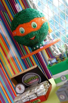 TMNT Ninja Turtles themed birthday party via Kara's Party Ideas: Pinata