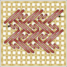 Working the Nobuko & Double Alternating Nobuko Needlepoint Stitches is easy. Learn how in 10 minutes or less to use in your needlepoint projects.: How to Work The Double Alternating Nobuko Stitch Broderie Bargello, Bargello Needlepoint, Needlepoint Stitches, Needlepoint Canvases, Needlework, Plastic Canvas Stitches, Plastic Canvas Crafts, Plastic Canvas Patterns, Cross Stitching