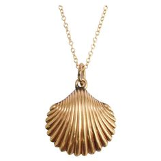Antique Victorian Gold Scallop Shell Locket | From a unique collection of vintage pendant necklaces at https://www.1stdibs.com/jewelry/necklaces/pendant-necklaces/