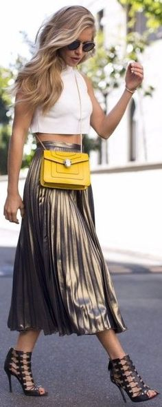 5 Things That You Never Expect In Fall Wardrobe Essentials...gold pleat midi skirt and cropped top with yellow crossbody bag | Divine Style