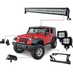 The 52 Inch LED Light Bar Kit and LED Work Lights Kit for Jeep JK Wrangler is the perfect way to upgrade your off-road lighting at a great price!