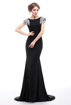 1930's Bias Sequin Backless Fishtail Lombard Gown - Black                         – The Deco Haus