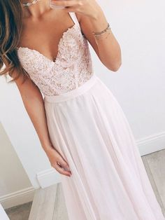 A Line Sweetheart Neck Light Pink Long Lace