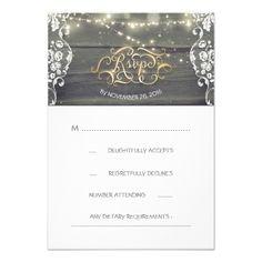 Wood Wedding RSVP Cards Rustic Wood Lace String Lights Wedding RSVP Card