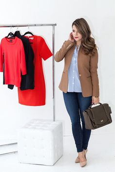 Crew regent blazer is one of my staples in my closet. If you were to go through my archives, you'd see plenty o. Blazer Shirt, Blazer Outfits, Blazer Dress, Camel Blazer, Clothing Staples, Denim Bag, Trina Turk, Office Outfits, Work Casual