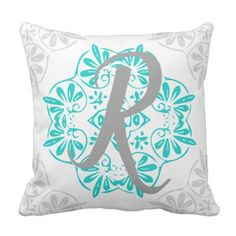 Gray Turquoise Modern Kaleidoscope Damask Pattern Outdoor Pillow - rustic gifts ideas customize personalize