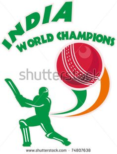 "vector illustration of a cricket player batsman batting  ball with words ""India World Champions"" - stock vector #cricketbatsman #retro #illustration"