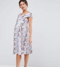 ASOS Maternity Wrap Bardot Skater Dress in Floral Print